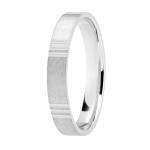 Alliance or gris palladié 750/1000, motifs 3 stries largeur 3,5 mm