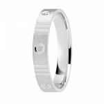 Alliance or gris palladié 750/1000, motifs 3 stries et cercles largeur 4 mm