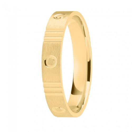 Alliance or jaune 750/1000, motifs 3 stries et cercles largeur 4 mm