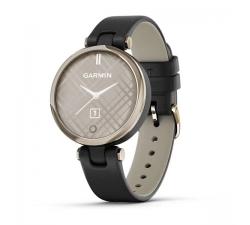 Montre Garmin Lily™ Lunette Cream Gold avec boîtier noir et bracelet en cuir Italien noir 010-02384-B1