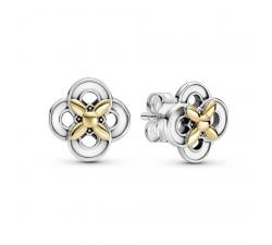 Boucles d'oreilles Fleur Bicolores argent 925/1000 et or 585/1000 Pandora 299349C00