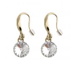 Boucles d'oreilles argent 925/1000 plaqué or jaune et cristal Indicolite BOCR-EMIPJ-001