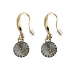 Boucles d'oreilles argent 925/1000 plaqué or jaune et cristal Indicolite BOCR-EMIPJ-SINI