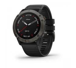 Montre Garmin fēnix 6X - Pro and Sapphire editions Sapphire, carbon Gray DLC avec bracelet noir 010-02157-11