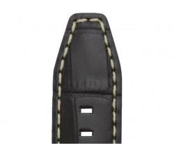 Bracelet de montre Veau Grain Alligator INDIANA Noir 20/18mm Xl Mat 5595701
