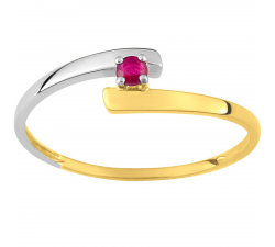 Bague or bicolore 375/1000, rubis by Stauffer