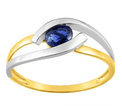 Bague or bicolore 375/1000, saphir bleu by Stauffer