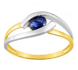 Bague or bicolore 375/1000, saphir bleu by Stauffer