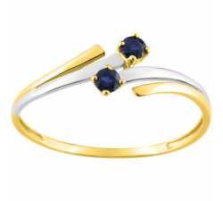 Bague or bicolore 375/1000, saphirs bleus by Stauffer