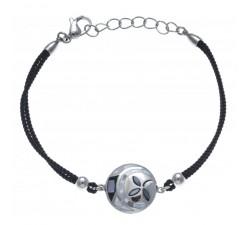 Bracelet acier - nacre - émail - coton noir - ODENA - IC 333