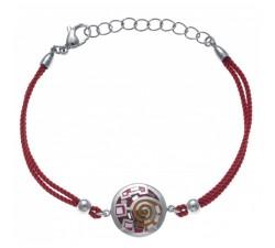 Bracelet acier - nacre - émail - coton rouge - ODENA - IC 335