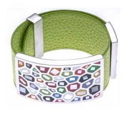 Bracelet acier - émail - nacre - cuir vert pomme - largeur 3cm - ODENA - IC 355