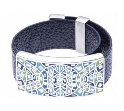 Bracelet acier - émail - nacre - cuir bleu foncé - ODENA - IC 368