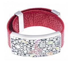 Bracelet acier - émail - nacre - papillon - cuir rouge - ODENA - IC 384