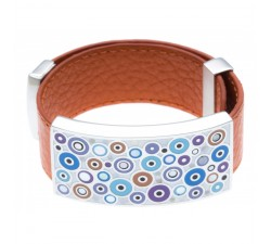 Bracelet acier - émail - nacre - cuir orange - ODENA - IC 389
