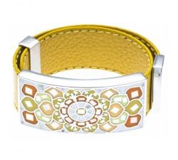 Bracelet acier - émail - nacre - cuir jaune moutarde - ODENA - IC 391