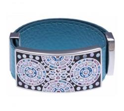 Bracelet acier - émail - nacre - cuir bleu - largeur 2cm - ODENA - IM 340