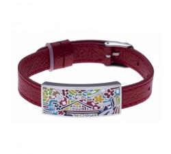 Bracelet acier - maison colorée - émail - nacre - cuir rouge - ODENA - IM 342