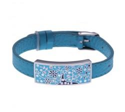 Bracelet acier - arbre de vie - émail - nacre - cuir bleu - ODENA - IM 348