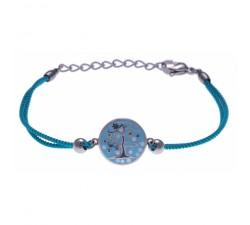 Bracelet acier - arbre de vie - nacre - émail - coton bleu - ODENA - IM 349