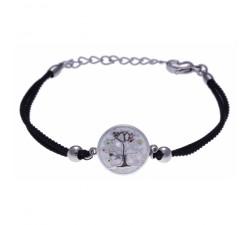 Bracelet acier - arbre de vie - nacre - émail - coton noir - ODENA - IM 351