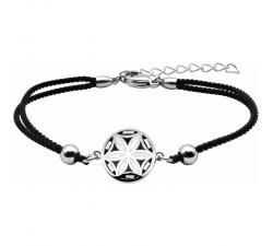 Bracelet acier - nacre - émail - fleur de vie - coton noir - ODENA - IM 374