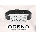 Bracelet acier - nacre - émail - fleur de vie - coton bleu - ODENA - IM 379
