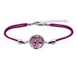Bracelet acier - nacre - émail - fleur de vie - coton rose - ODENA - IM 380