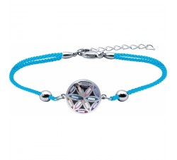 Bracelet acier - nacre - émail - fleur de vie - coton bleu - ODENA - IM 383