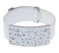 Bracelet acier - émail - nacre - cuir blanc - largeur 2cm - ODENA - IM 385