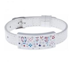 Bracelet acier - émail - nacre - montgolfière - cuir blanc - largeur 1cm - ODENA - IM 397