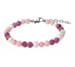 Bracelet STILIVITA en acier - Collection équilibre - AMOUR & SENSUALITÉ - opale - tourmaline rose - perles - SI 344