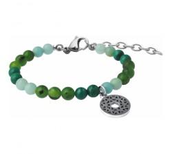 Bracelet STILIVITA en acier - Collection équilibre - AME D'ENFANT - jade néphrite - malachite - amazonite - SI 345