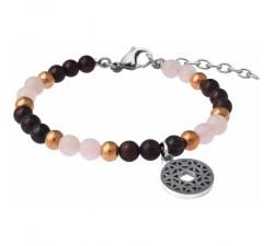 Bracelet STILIVITA en acier - Collection équilibre - ROMANTIQUE - quartz rose - grenat - chakra coeur - SI 347