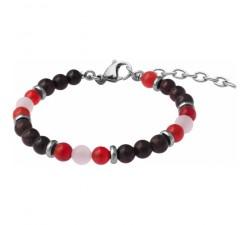 Bracelet STILIVITA en acier - Collection équilibre - HARMONIE DU COUPLE - cornaline - grenat - quartz rose - SI 349
