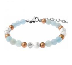 Bracelet STILIVITA en acier - Collection équilibre - PATIENCE & CALME - aigue marine - howlite blanche - SI 350