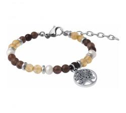Bracelet STILIVITA en acier-Collection équilibre-ÉNERGIE ET CONCENTRATION-citrine-quartz fumé - perles - arbre de vie - SI 351