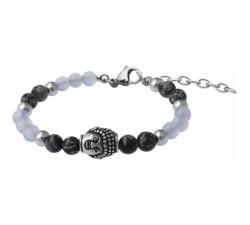 Bracelet STILIVITA en acier - Collection équilibre - RÉCONFORT - calcédoine - obsidienne neige - bouddha - SI 352