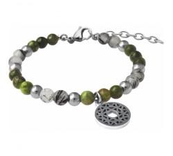 Bracelet STILIVITA en acier - Collection équilibre - JOIE DE VIVRE - tourmaline verte - quartz tourmaliné - SI 353