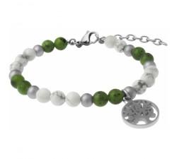 Bracelet STILIVITA en acier-Collection équilibre-DISCERNEMENT ET EQUILIBRE-howlite blanche-jade néphrite - arbre de vie - SI 354