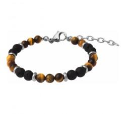 Bracelet STILIVITA en acier - Collection équilibre - MOTIVATION - œil de tigre - pierre de lave - SI 355