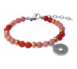 Bracelet STILIVITA en acier - Collection équilibre - AMOUR & POSITIVITE- rhodocrosite - cornaline - chakra coeur - SI 356