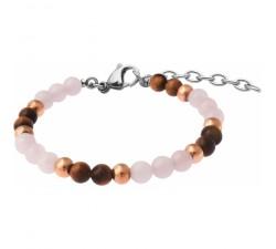 Bracelet STILIVITA en acier - Collection équilibre - ANTI JALOUSIE - quartz rose - œil de tigre - SI 357