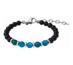 Bracelet STILIVITA en acier - Collection Médecine douce - PERTE DE POIDS HOMME - apatite - tourmaline noire - SI 360