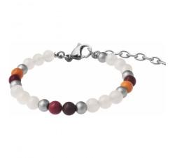 Bracelet STILIVITA en acier - Collection Médecine douce - WONDER WOMAN - pierre de lune - mookaite - SI 362