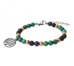 Bracelet STILIVITA en acier - Collection Médecine douce - ARTHRITE - malachite - azurite - arbre de vie - SI 364