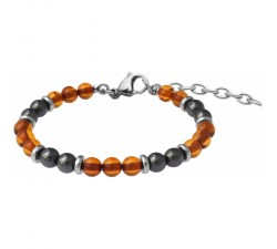 Bracelet STILIVITA en acier - Collection Médecine douce - ARTHROSE - ambre - hématite - SI 365