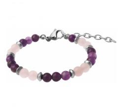 Bracelet STILIVITA en acier - Collection Médecine douce - NUIT PAISIBLE - quartz rose - améthyste - SI 366