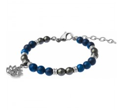 Bracelet STILIVITA en acier - Collection Médecine douce - ANTI DÉPRESSION - hématite - lapis lazuli - lotus - SI 368