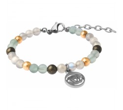 Bracelet STILIVITA en acier - Collection Médecine douce - FATIGUE - fluorite - pyrite - labradorite - chakra 3e oeil - SI 369